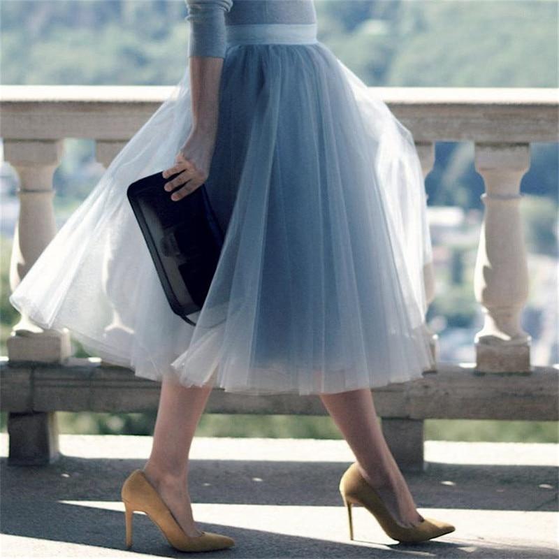 5 Layers 60cm Princess Midi Tulle Skirt Pleated Dance Tutu Skirts Womens Lolita Petticoat Jupe Saia faldas Party Puffy Skirts