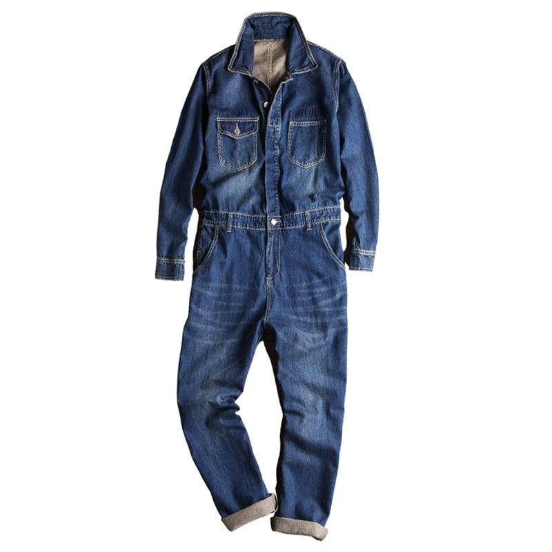 Sokotoo Men's long sleeve turn down collar denim jumpsuits Pockets jeans Blue coveralls