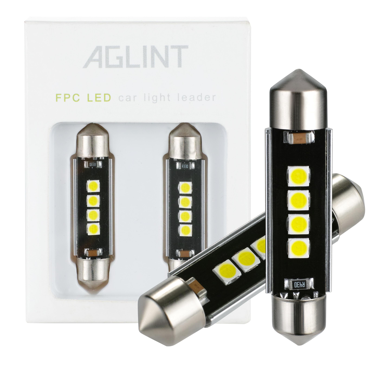 AGLINT 2 шт. Festoon светодиодный светильник 41 мм 42 мм C5W C10W Автомобильный светодиодный купольный светильник Canbus без ошибок внутренняя лампа для чт...