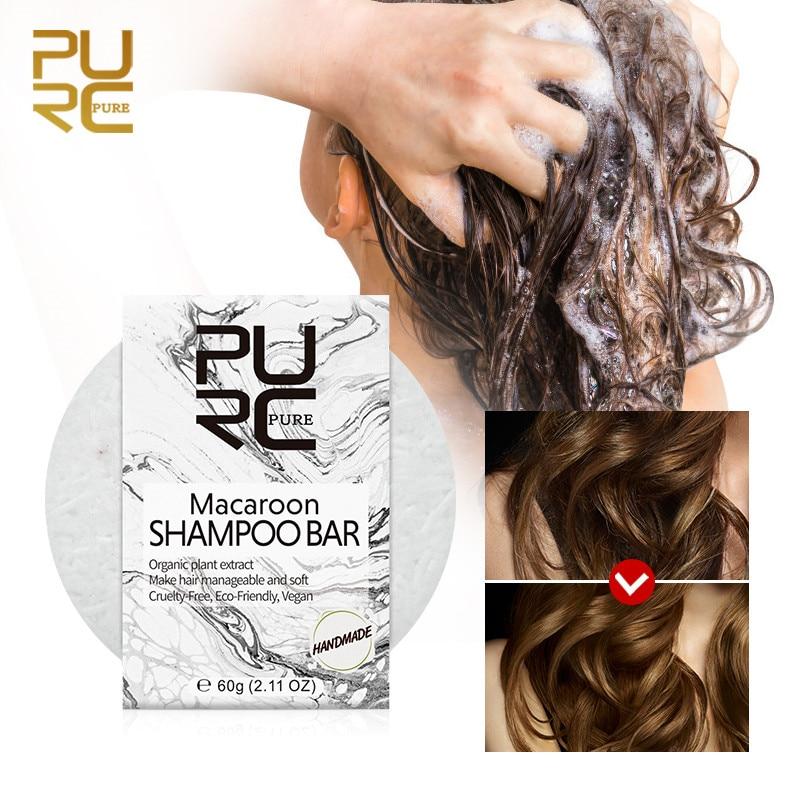 PURC champú MACAROON jabón manejable cabello suave aceite de coco champú para...