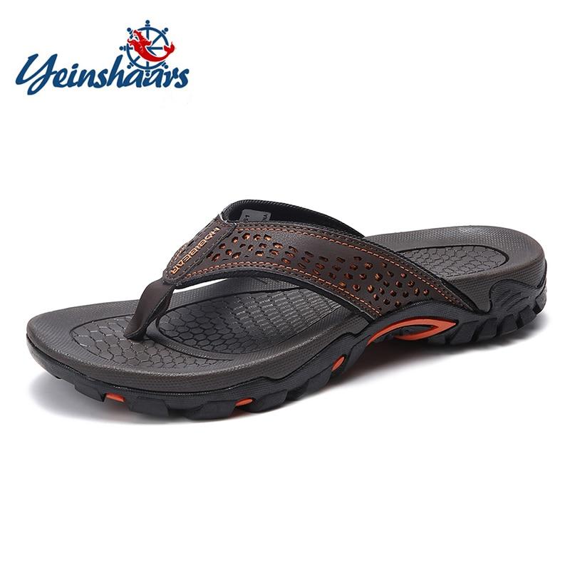 YEINSHAARS Brand PU Leather Summer Men Slippers Beach Sandals Comfort Men Casual Shoes Fashion Men Flip Flops Hot Sell Footwear