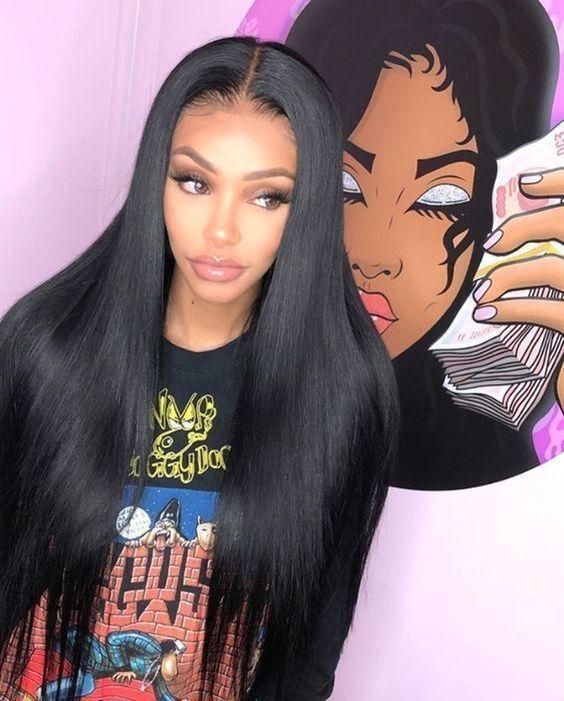 Marquesha peluca negra delantera de encaje 13x6, peluca sintética de parte media recta larga para mujeres pre-arrancada con línea de cabello Natural