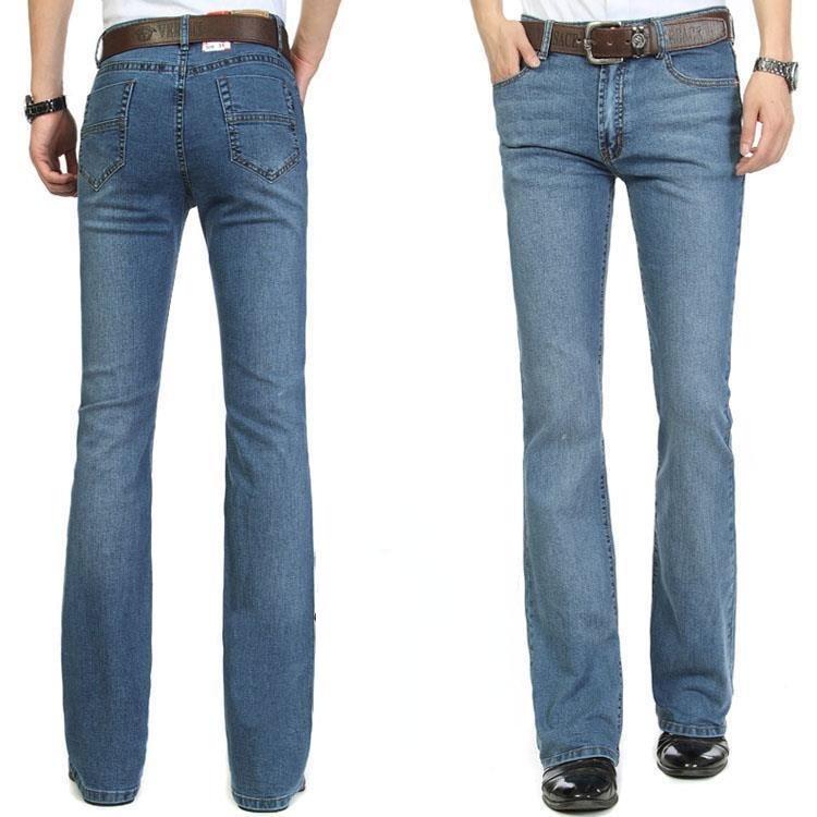 Джинсы мужские клеш, эластичные облегающие брюки-клеш, средняя посадка, четыре сезона, весна-лето
