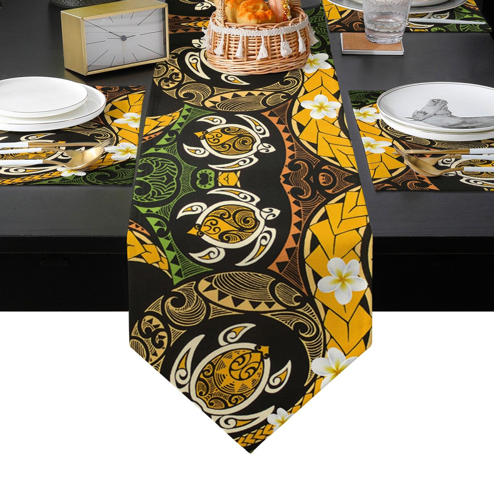الغريبة هندسية زهرة الجدول عداء مجموعة القطن الكتان الجدول العدائين Tablecloth طاولة طعام حصيرة المنزل الزفاف الجدول الديكور