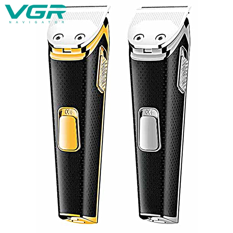 VGR Hair-Trimmer Electric Clipper Electric Hair Clippers 0 Cutter Head Adjustable Push White Engraving USB Rechargeable enlarge