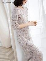 knee length decor sweater dress autumn winter new korean version loose v neck wool dress slit