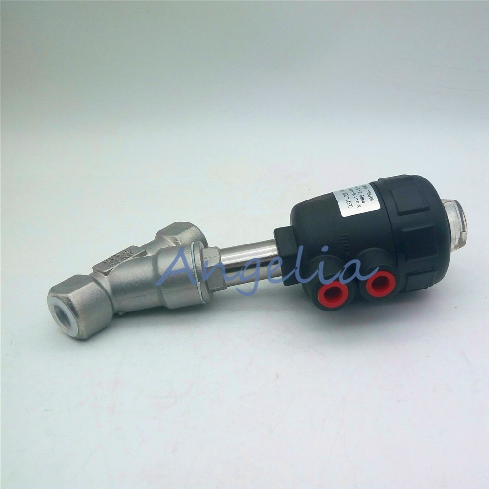 """DN15 1/2 """"BSP Нержавеющая сталь 304 одиночное действие воздушный приводной угловой клапан сиденья нормально закрытый"""