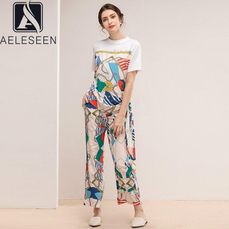 AELESEEN 2 قطعة مجموعة النساء 2021 الربيع الصيف الأبيض تي شيرت غير تقليدي فضفاض سراويل تقليدية سلسلة هندسية طباعة موضة مجموعات