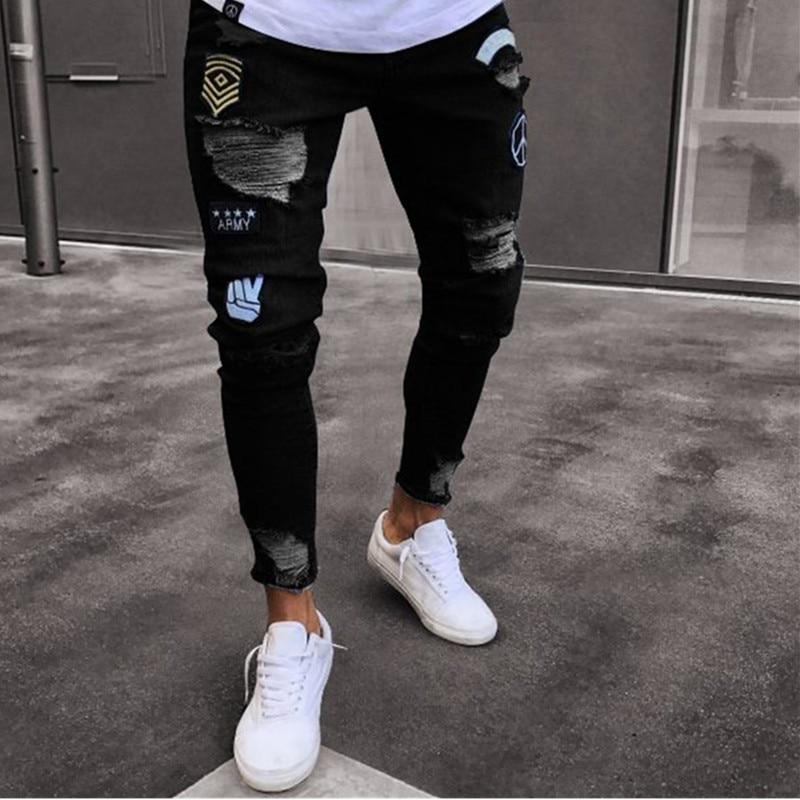 3 estilos hombres elástico Ripped Skinny de motorista bordado Jeans estampado destruido agujero Slim Denim rayado Jeans cintura S-4XL