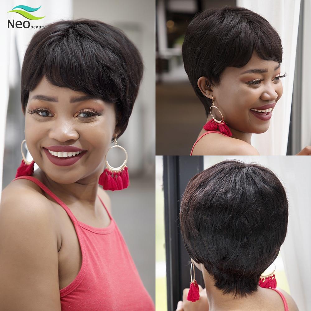 Peluca de corte Pixie, pelucas de cabello humano corto para peluca para mujer afroamericana, peluca con flequillo, Peluca de pelo humano barata con envío gratis