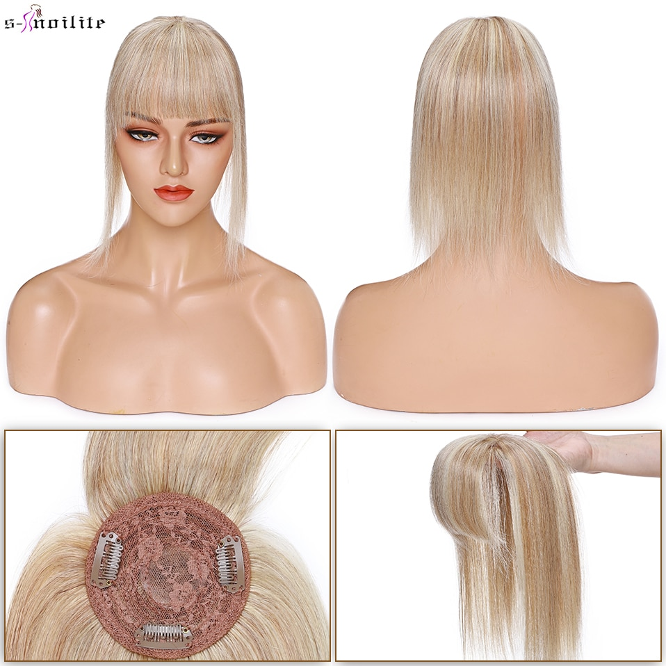 S-noilte 8.5x8.5cm Hair Topper 100% Human Hair Cilps Silk Base Wigs With Bangs Hairpiece Clip In Hair Extensions Natural Hair
