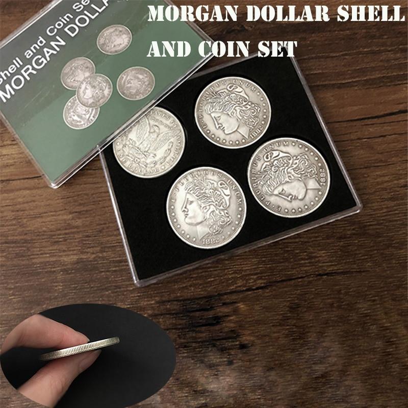 Juego de carcasas y monedas de dólar de Morgan (5 monedas + 1 carcasa de cabeza + 1 carcasa de cola) trucos de Magia ilusión de primer plano