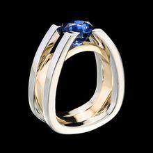 Anillos de cristal azul para mujer, de dos colores anillos dorados, anillos exquisitos de cristal para compromiso de boda, anillo de moda