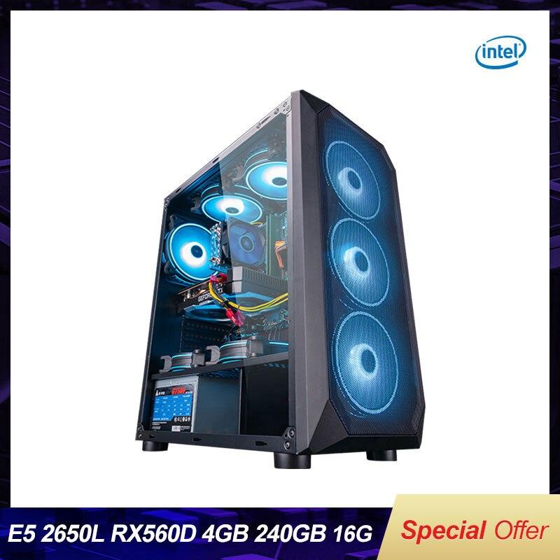Intel Assembled Desktop Computer Intel Xeon E5-2650L 8-Core/RX560/GTX960 4G/16G RAM 240G SSD Cheap G