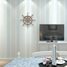 Minimalist Stripe Non-woven Flocking Wallpaper Solid Color Contact Paper Blue Green Beige Stripe Wallpaper Rolls Wallcoverings