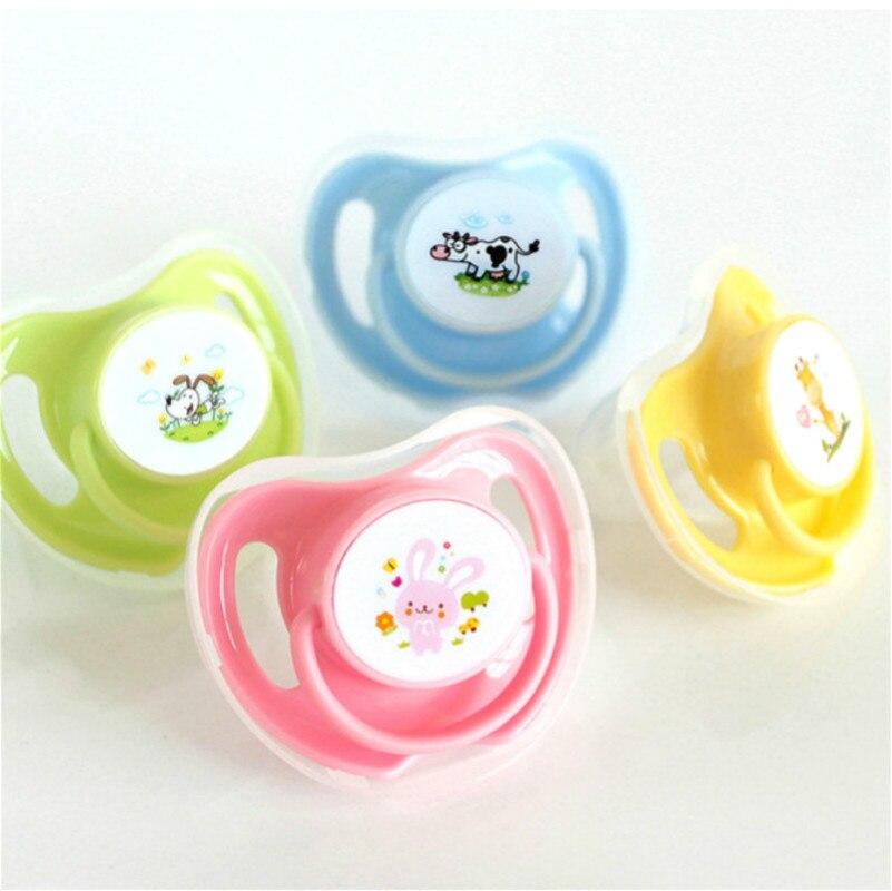 1 Uds. Apaciguar a los chupetes de bebé de algodón con estampado de animales seguros de silicona de grado alimenticio chupetes redondos y planos para bebés
