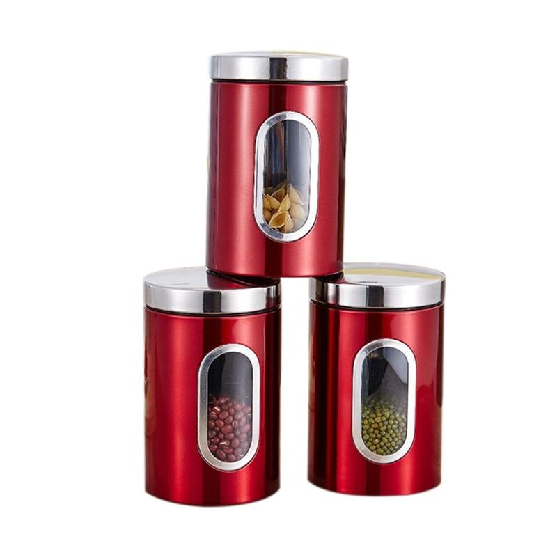 Bidon hermétique de thé de café de bidons dacier inoxydable avec la bouteille de pot scellée par récipients de stockage de cuisine de fenêtre Visible