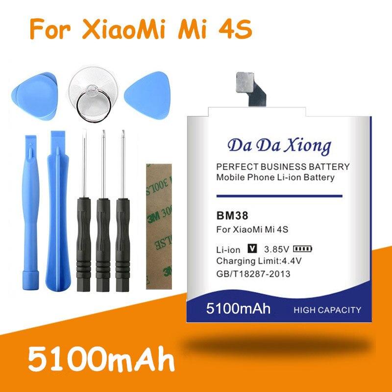Аккумулятор высокой емкости 5100 мАч BM38 для Xiaomi Mi4s Mi 4S M4S сменные батареи + Бесплатные инструменты