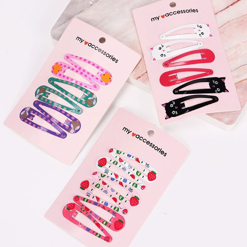 6PCS/1Set Children Snap Hair Clips Barrettes Girls Cute Hairpins Colorful Headbands for Kids Hairgrips Hair Accessories