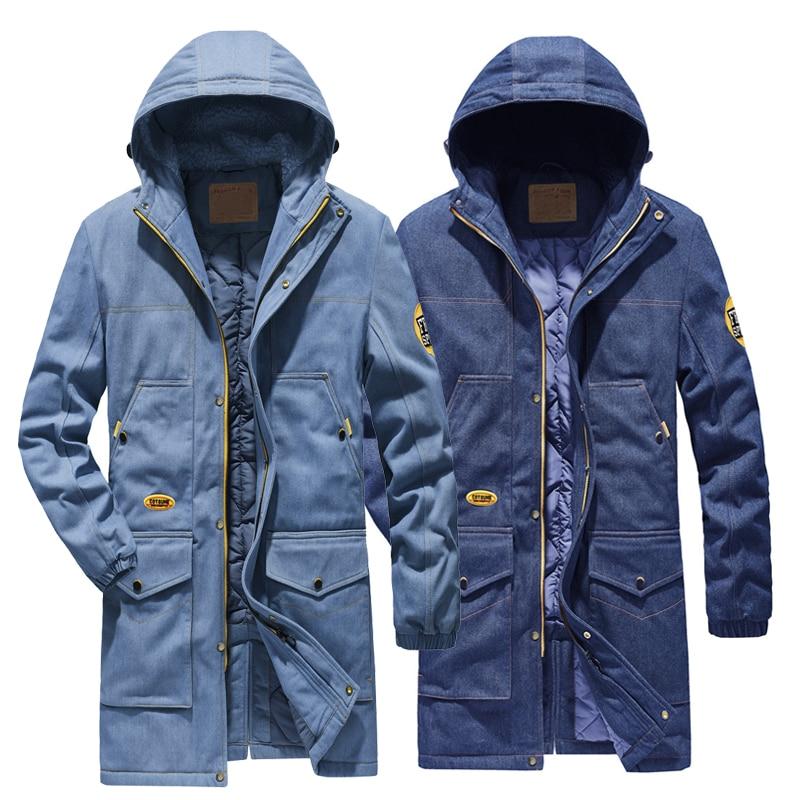 2020 jaqueta jeans masculina engrossar design de moda inverno longo parka casaco masculino plus size 4xl jaqueta jeans