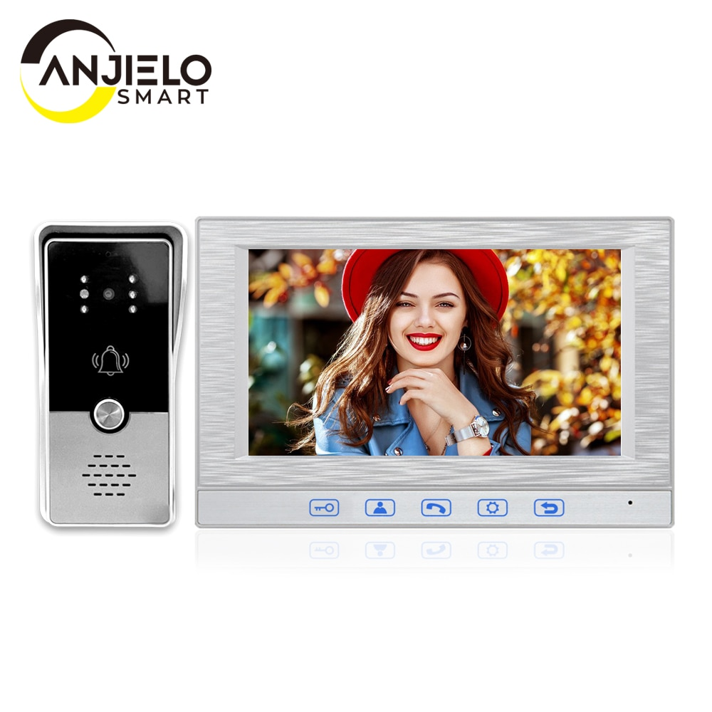 7 Inch Wired Video Intercom Doorbell System With 1000TVL Night Vision IP65 Waterproof Outdoor Doorbell for Home Control Unlock