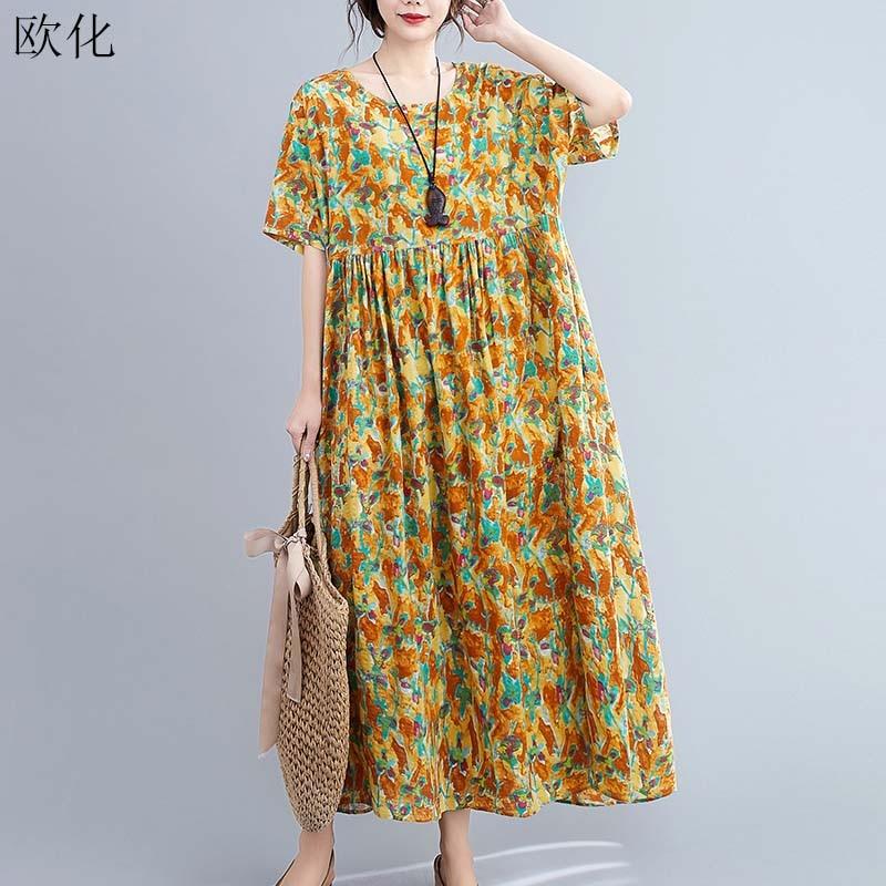 Vintage boho praia maxi vestidos para mulher plus size 4xl 5xl 6xl algodão linho vestido longo robe feminino impressão floral grande swing vestido
