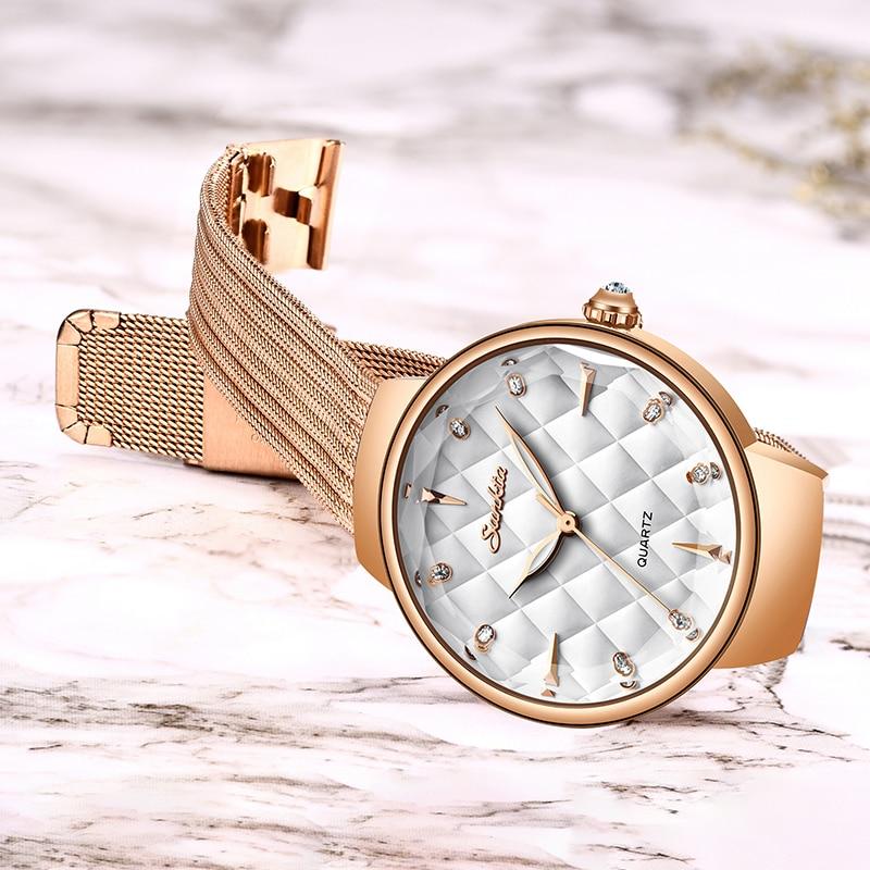 2019 SUNKTA Top Luxury Brand Watch Women Fashion Quartz Wrist Watch Ladies Stainless Steel Waterproof Watches Relogio Feminino enlarge