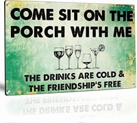 yard sign come sit on porch with me metal sign 8x12 inches metal signs decor use for yard decor family room bedroom bathroom bar