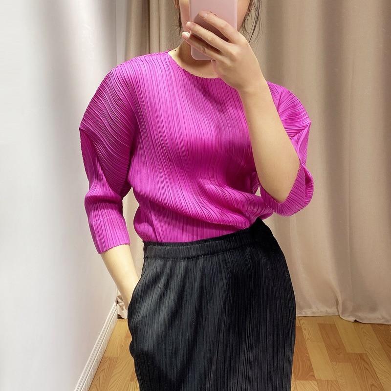 LANMREM 2020 plisado camiseta mujer salvaje sólido Puff, manga corta Slim casual cuello redondo nueva moda Primavera doble tendencia AR083