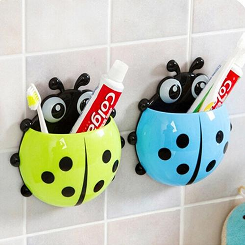 1 Pcs Cup Tooth Container Cute Ladybug Insect Toothbrush Holder Cartoon Toiletries Toothpaste Holder Wall Suction Bathroom Sets
