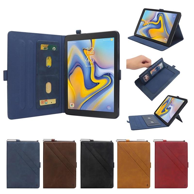 Caso para Samsung Galaxy Tab A 8,0 pulgadas 2018 SM-T387 T387V T387P cubierta inteligente Smart de cuero de la tarjeta soporte ranura de bolsas caso kimTHmall