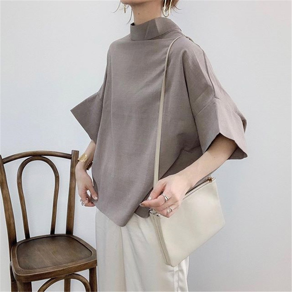 2021 Japanese Style Temperament New Blouse Solid Color Summer Simplicity Casual Bat Sleeve Stand-up