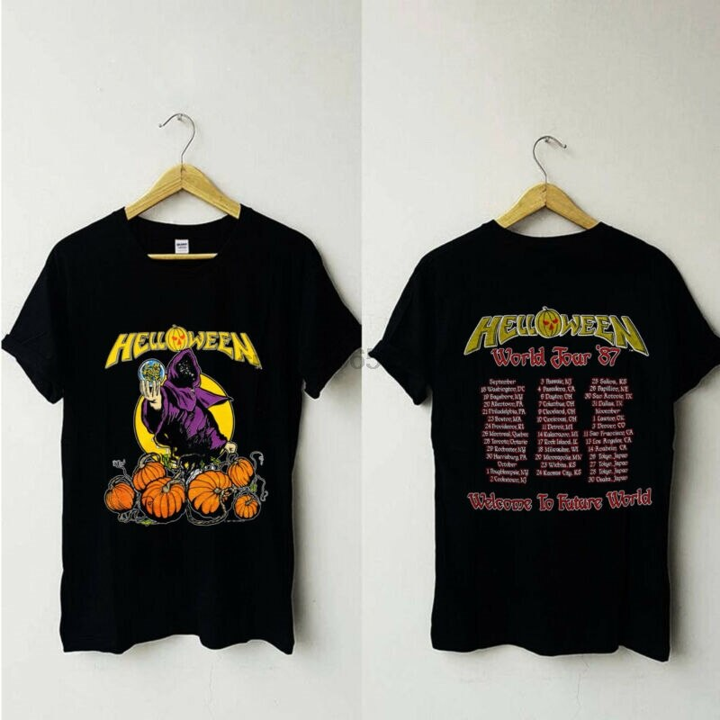 Vintage Helloween 1988 Pumpkins Fly Free Tour Concert Rock Band Tshirt reprint