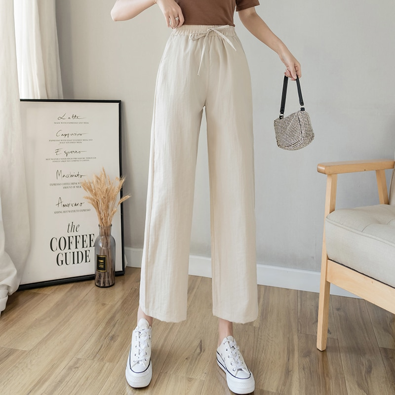 Casual Cotton Linen wide leg Beach pants bohemian loose pants female vintage high waist Solid color straight trousers women 2021