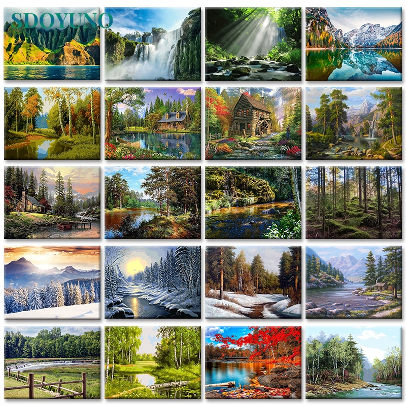 SDOYUNO 60x75cm Frameless Painting By Numbers Nature Landscape pictures by numbers DIY For Home Decoration Gift