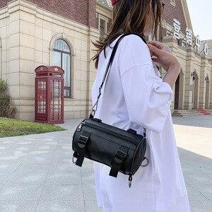 Sidebag single shoulder bag Street hip hop cylinder small sidebag solid color small black bag