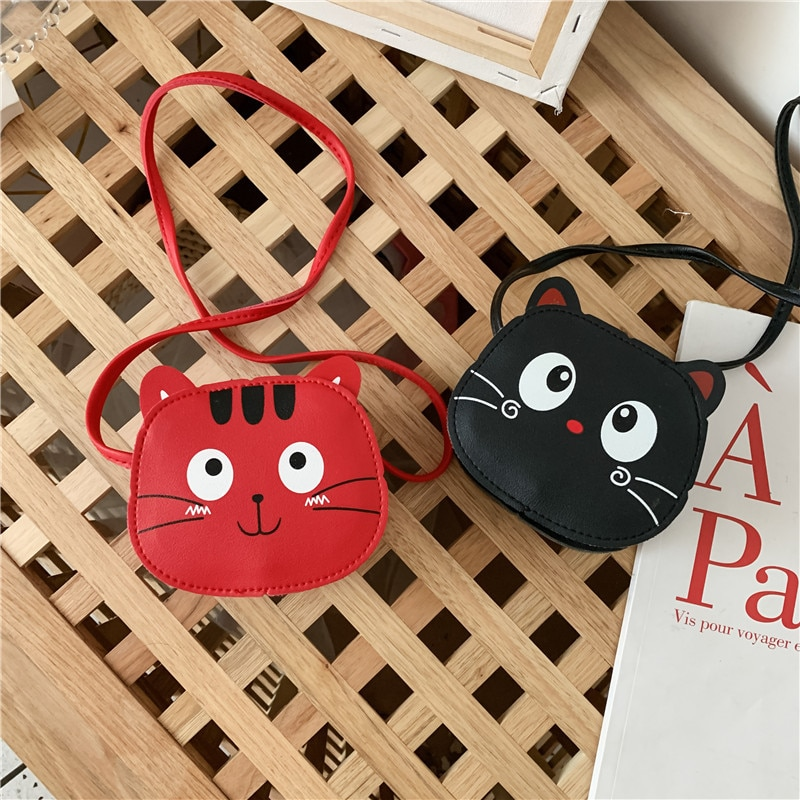 Lovely Cats Baby Girls Coin Purse PU Leather Cute Boys Kids Mini Shoulder Bag Fashion Children Small Crossbody Bags Money Wallet girls coin purse children one shoulder bags coin pouch bags kids pu fashion small bags new bag purse kids
