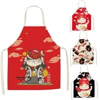 lucky cat apron kitchen aprons for women cotton linen bibs household cleaning pinafore home cooking apron