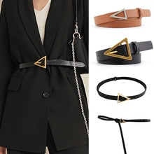 New Design Personality Leather Thin Belt Metal Triangle Buckle Thin Female Belts Jeans Trouser Dress