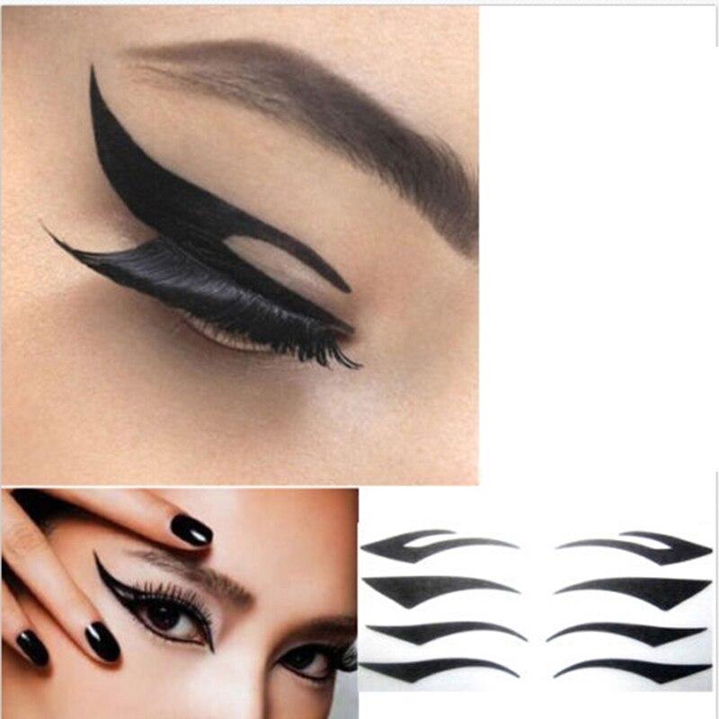New DIY Women Cat Line Eyeliner Stencils Pro Eye Makeup Tool Easy To Make Up Eye Template Shaper Model  Eyelid Eyeliner Sticker