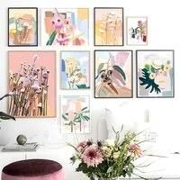 WTQ     toile de Collage de feuilles abstraite  peinture de fleurs pour pepiniere  affiches nordiques retro  decor mural  Art mural  photo  decor de maison