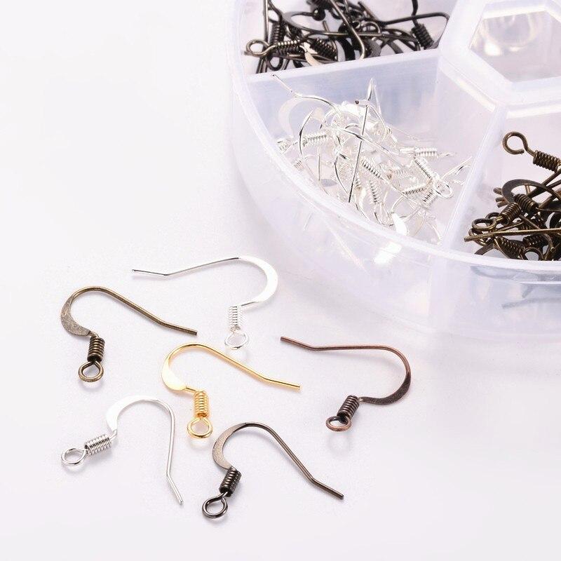 1 caja de Color mezclado ganchos de latón para pendientes para fabricación de joyería DIY accesorios de aretes conclusiones libre de níquel agujero 2mm