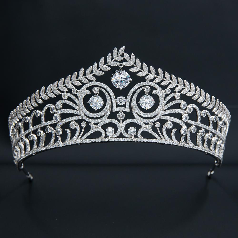 تاج ملكي من الزركونيا المكعبة ، نسخة طبق الأصل من تاج الملكة الكريستالي ، مجوهرات شعر العروس CH10355