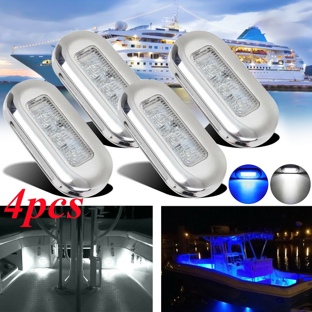 4PCS 12V 3 LED Fishing Light Attracting Fish Underwater LED Night Luring Lamps For Marine Pontoon Boat Fishing Tools Stair Deck
