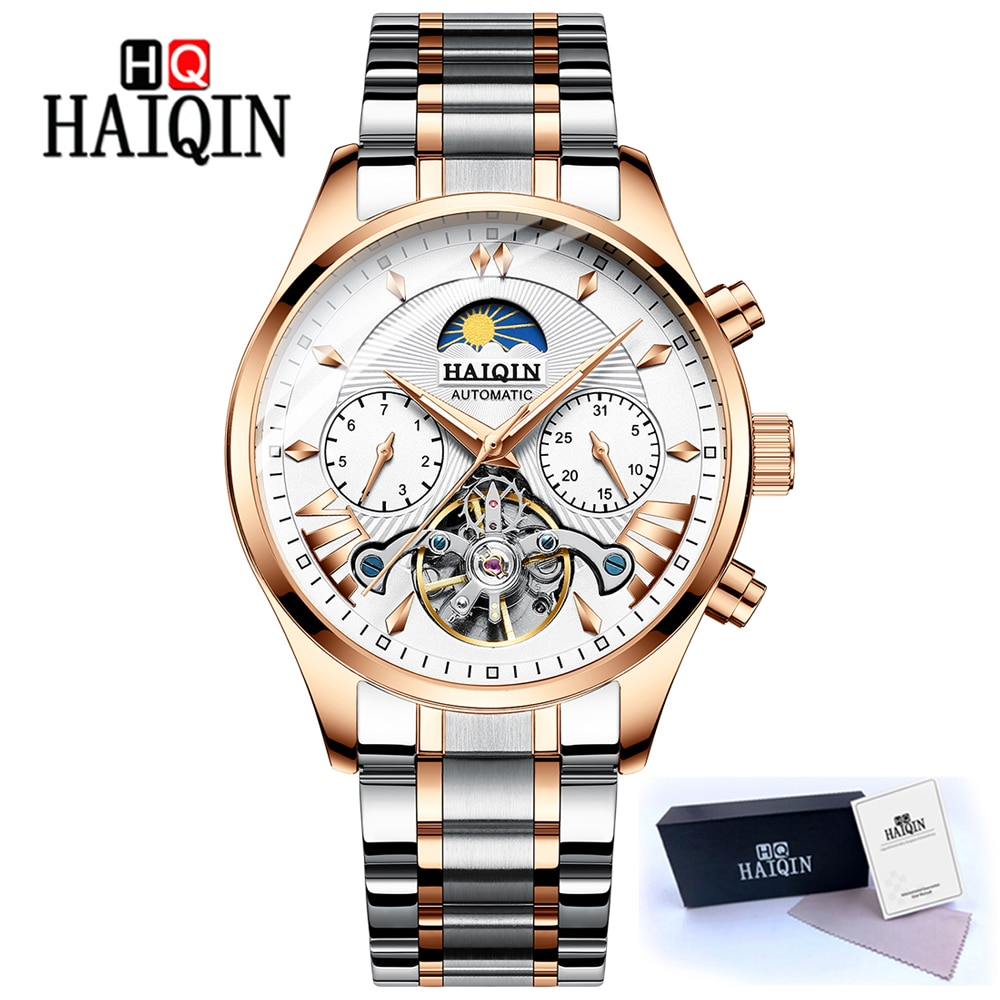 جديد HAIQIN الميكانيكية ساعة أوتوماتيكية الرجال الساعات العلامة التجارية الفاخرة توربيون ساعة الأعمال ساعة اليد رجالي reloj hombre 2019