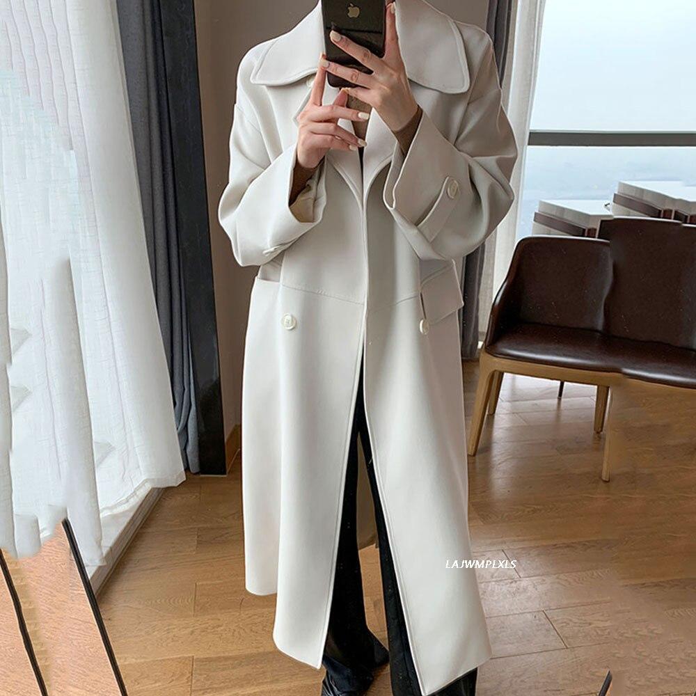 الحد الأدنى 2021 المرأة خندق معطف بلون جلد الخصر النحيف أنيقة طويلة طول البرية إنجلترا جديد الخريف ملابس عصرية