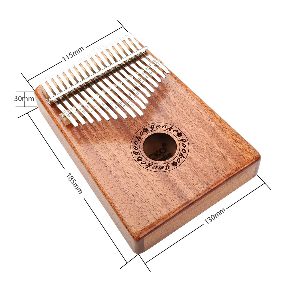 Gecko 17 Keys Kalimba Thumb Piano Imported solid Mahogany Body Musical Instrument With EVA Case Learning Book Tune Hammer K17M enlarge
