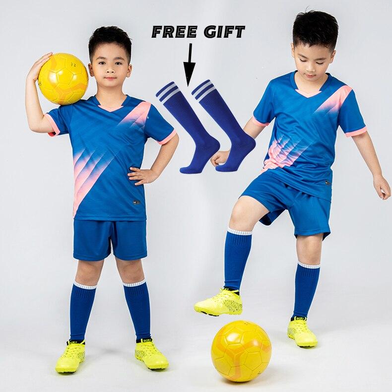 Jersey Sepak Bola Anak Laki-laki Seragam Olahraga Sepak Bola Anak Kit Pakaian Olahraga Bola Anak-anak Rompi Kaus Kaki Setelan Sepak Bola Anak-anak