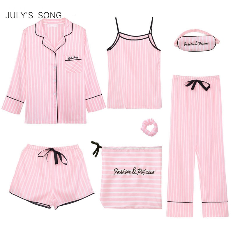 JULY'S SONG Pink 7 Pieces Women's Pajamas Sets Faux Silk Striped Pyjama Women's Pajamas Sleepwear Sets Spring Summer Homewear