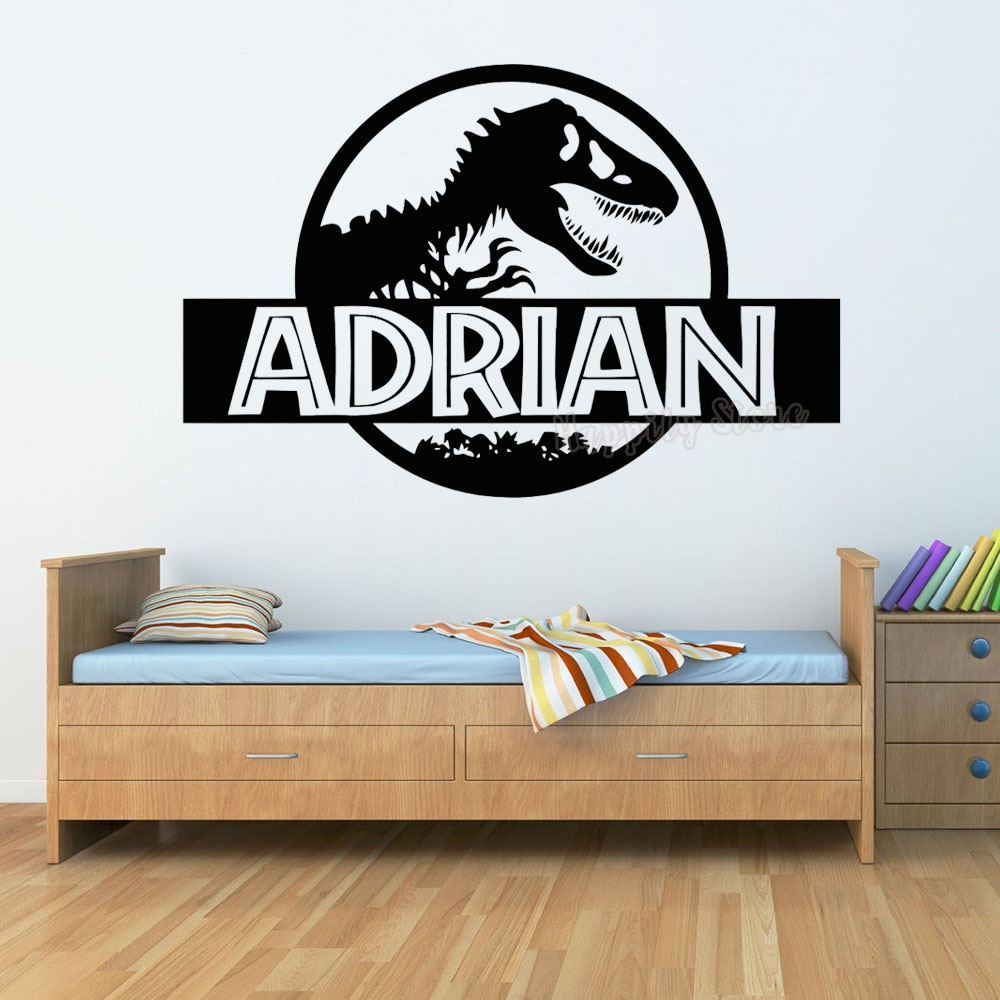 Personalized Jurassic Park Wall Sticker Bedroom Dinosaur T-Rex Custom Name Vinyl Decal Home Nursery Boy Kids Room Decor G577